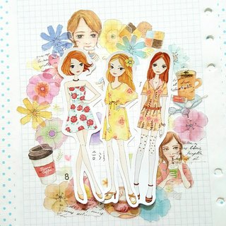 Fashion girl sticker (optional material)