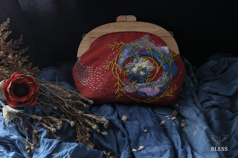 Red wool felt embroidered wooden bag