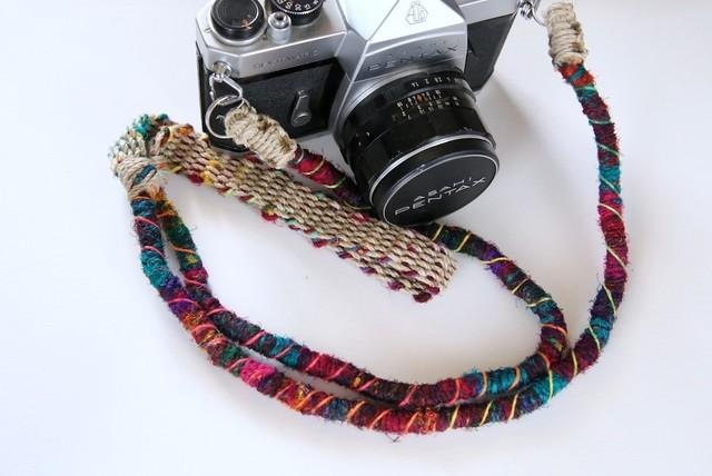 Crazy-color hemp hemp camera strap / double ring
