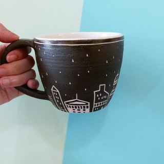 Hand-drawn blank engraved series of early snow mug 340c.c