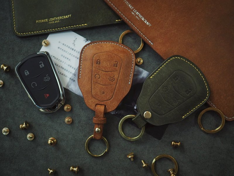Cadillac car key set Italian vegetable tanned leather brown dyeing handmade leather design custom