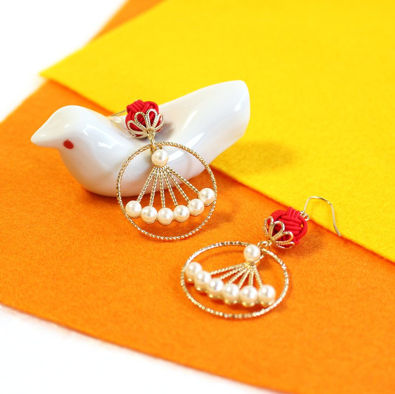 japanese style ear clip / mizuhiki / japan / accessory /  knot / red