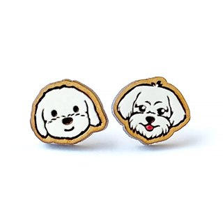 Painted wood earrings-Maltese