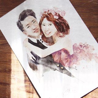 Chiao Ji hand-painted watercolor - custom sweet wedding portrait - [box / double]
