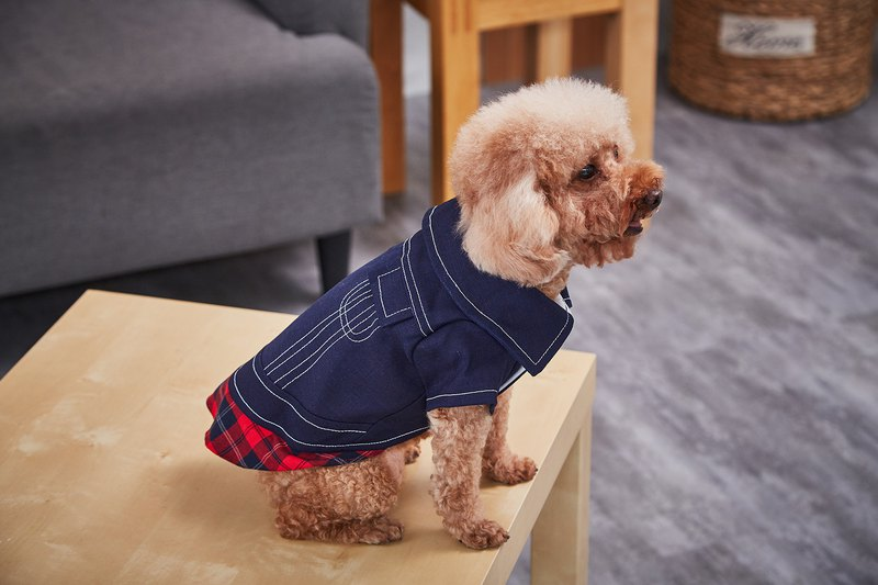 [Duke of Mao] pet clothing check denim stitching top