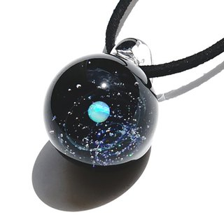 The world of stardust. White opal, opal cluster entered ver2 glittering glass pendant Space star planet