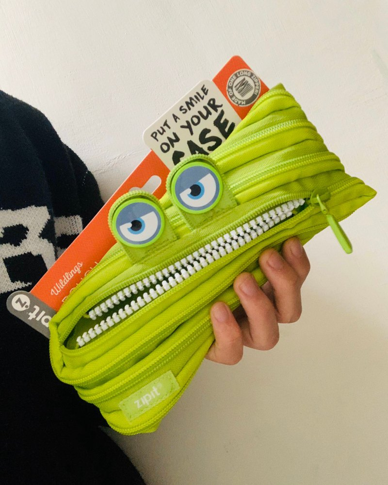 Zipit Grillz Monster Steel Tooth Pencil Case-Bad Green