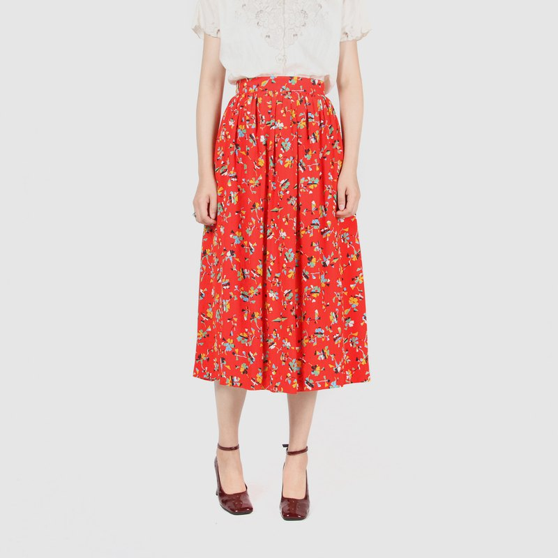 [Egg plant ancient] flower color paper-cut printing vintage dress
