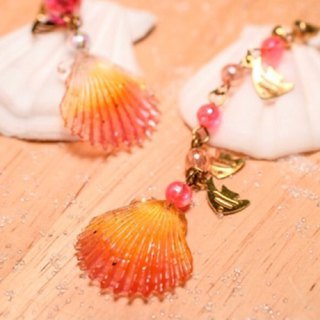 NEW!! Cute & Beauty Orange Seashell Resin Earrings