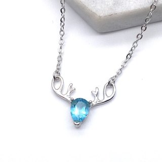 Blue Topaz 925 sterling silver elk antler design necklace Nepal handmade inlay