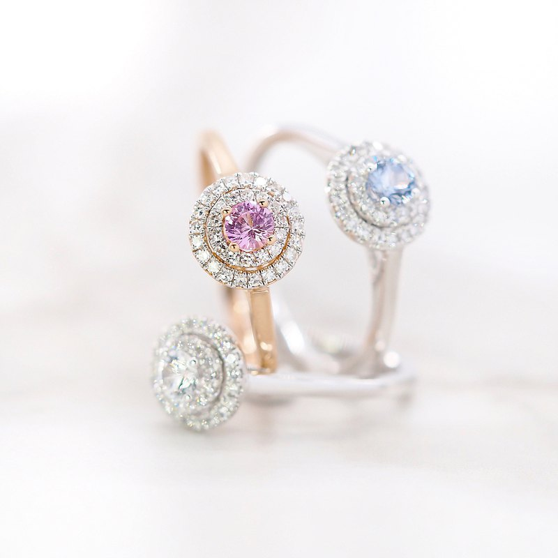 Adelaide of the noble class | Double circle | 18K gold diamond ring (customizable)