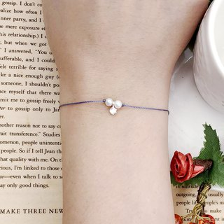 Natural Pearl + 925 Sterling Silver Small Claw Diamond Red Line Temperament Bracelet Hand Strap Marriage Red Rope