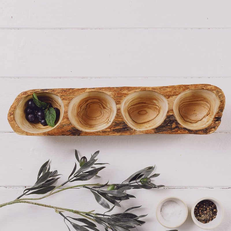 British Naturally Med Olive Wood Four-Piece Snack Tray/Flower Decoration Long Plate/Sauce Pan