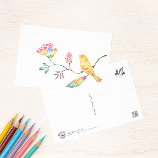 "4 pieces set. Like a picture book. Post card ""Yellow bird and flower"" PC-338"
