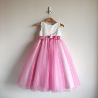 Pink Ball Gown Dress with Bow Waist