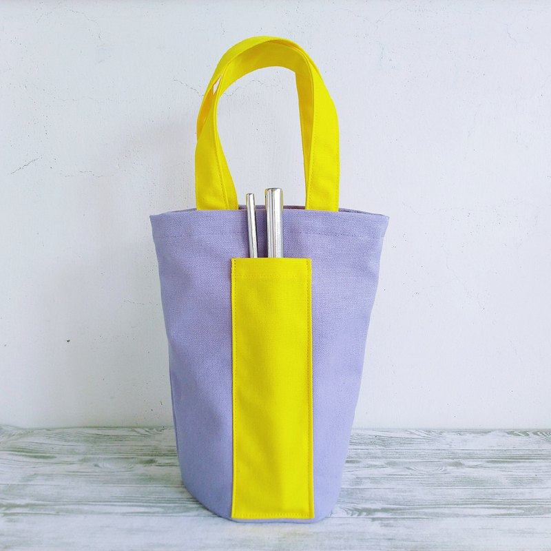 Light purple egg yolk environmental protection universal canvas bag ice tyrant bag bag beverage bag water bottle bag small bag