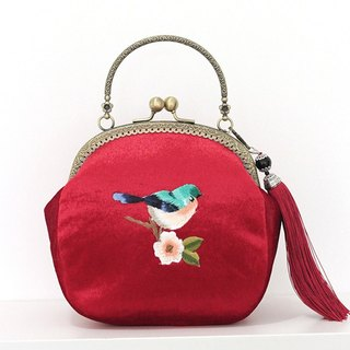 On the new first 50% off) mouth gold package cheongsam bag Messenger bag embroidered bird iphone phone bag mobile phone bag oblique bag bag bag birthday gift red