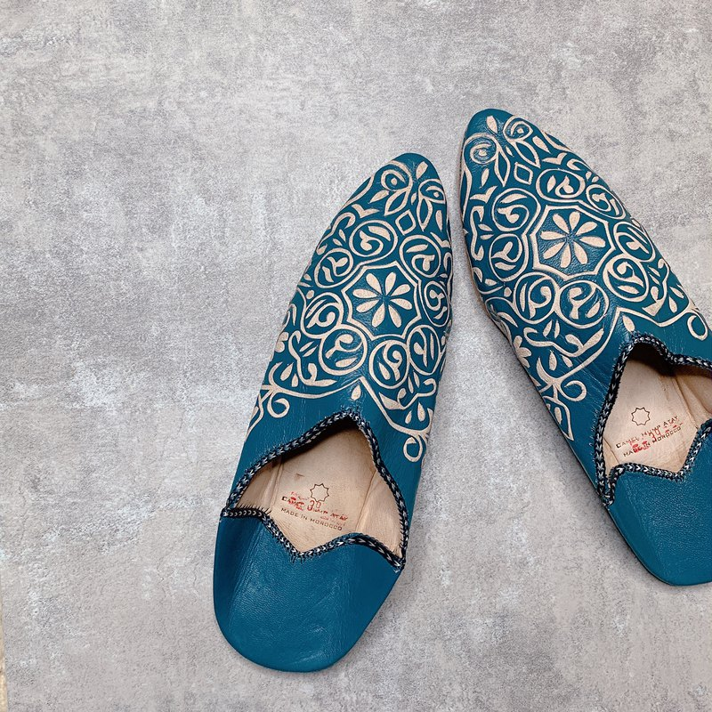 Moroccan balgha leather carving handmade shoes blue green foot shoes indoor shoes