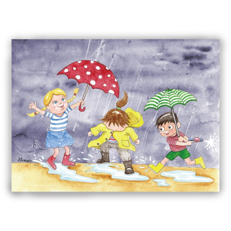 Hand-painted illustration universal card / postcard / card / illustration card - rainy day play water