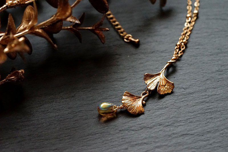 Ginkgo necklace - 316L stainless steel Chain