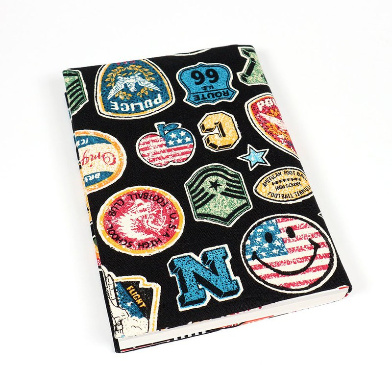 A5 Cloth Book Cover Mom Book Cloth Book Cloth Book - Smile Badge (Black)