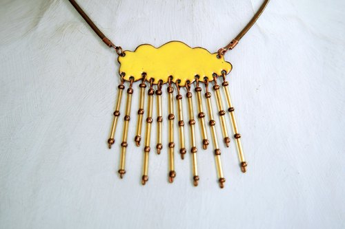 Enamel Necklace, Cloud Necklace, Golden Shower, Jewelry, Rain Cloud Necklace