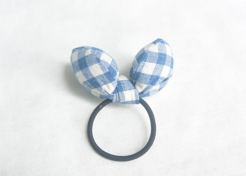 Butterfly hair ring - blue grid