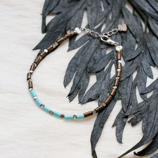 Mahogany+Turquoise Bracelet with Linear Memory Alloy