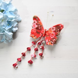 Hand-made Japanese-style butterfly hairpin red cloth for kimono dress tassel Edition