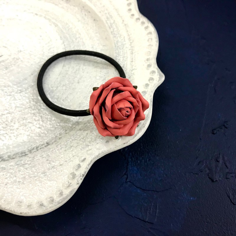 Living Coral Leather Rose Hairband