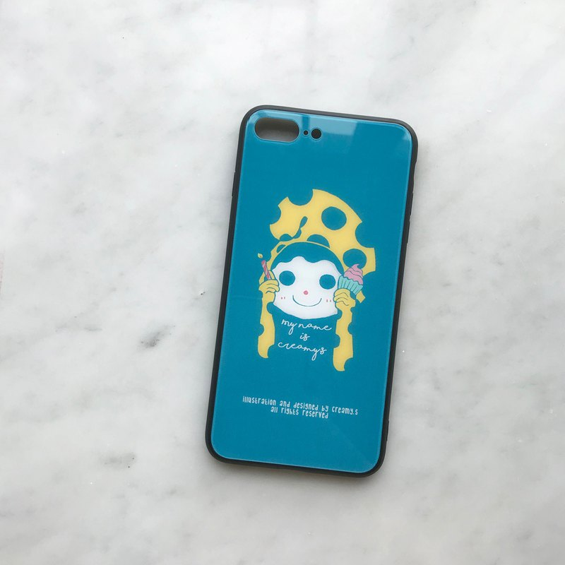 Creamyhead Blue dots - Tempered glass iphone case
