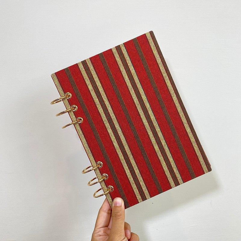 橘黃條紋 - A5 / A6 6孔活頁本 封面可水洗  無時效 行事曆 手帳