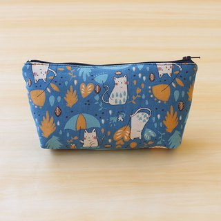 Rain cat bag - blue (large) / storage bag pencil case cosmetic bag