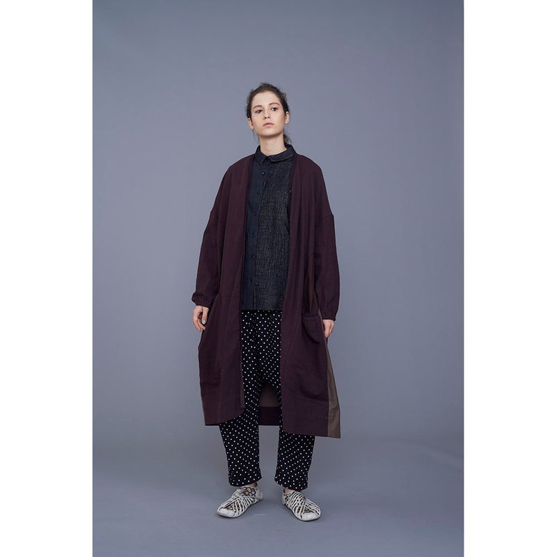 1902D11 color block stitching long coat