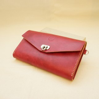 Hand-dyed leather hatchback envelope packet - carmine