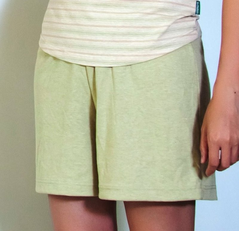 Organic colored cotton green cotton shorts