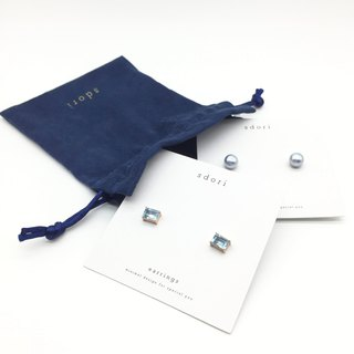 GOODY BAG - RECTANGULAR TOPAZ EARRINGS & BLUE-DYED PEARL EARRINGS (LIMITED)