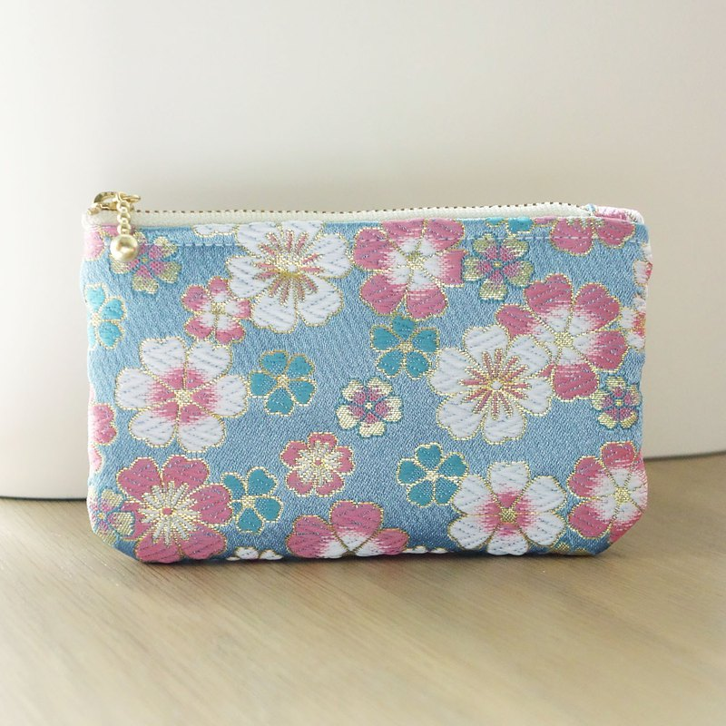 [Western woven] pink blue full cherry hand made zipper wallet card bag storage bag Japanese color