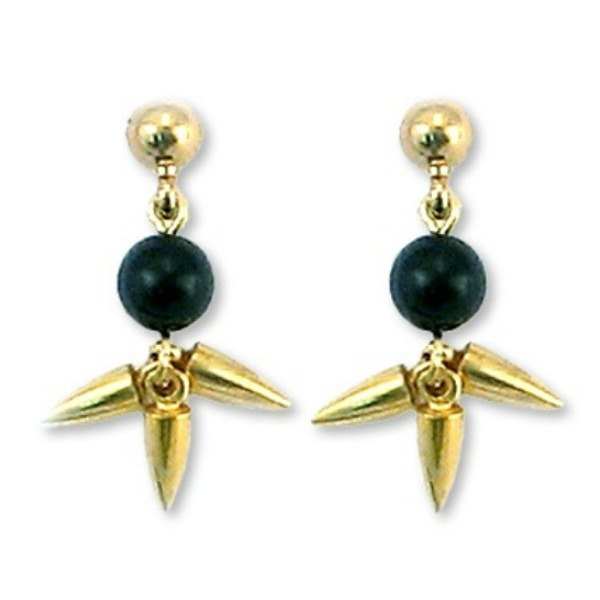 Ancient Egyptian black onyx lotus earrings