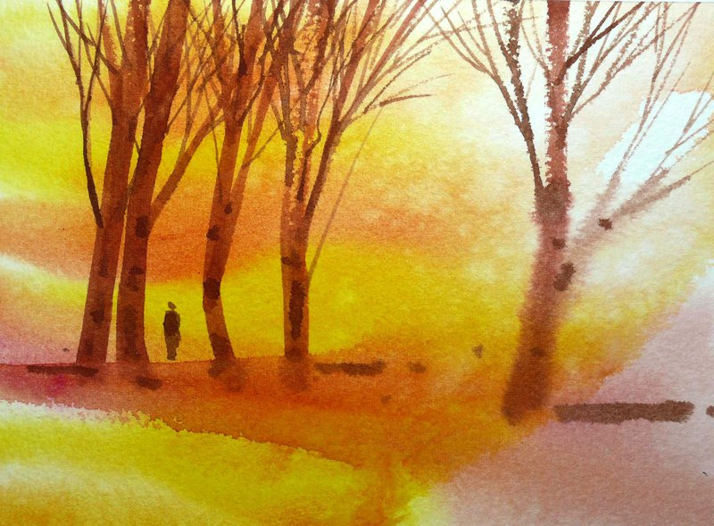 Nostalgic Woods Series 499 - Watercolor Hand Drawn Limited Edition Postcard / Commemorative Card