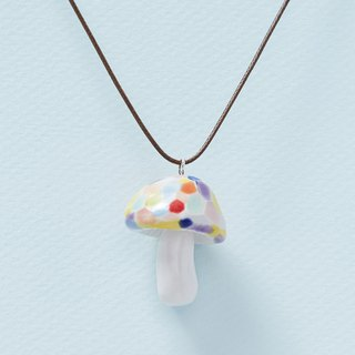 Colorful Mushrooms - Handmade White Porcelain Necklace