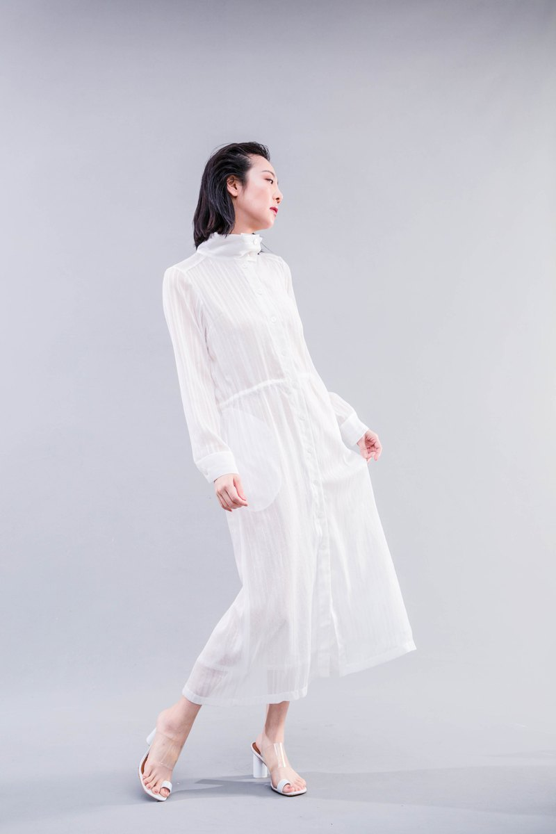 Malwine 2019summer Summer Collection Fog White Stand Dress