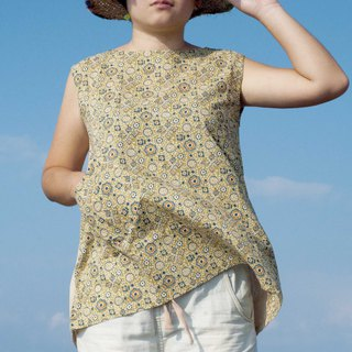 Woodcut printed cotton top / Indian cotton blockprint vest / hand woven wide vest - desert flowers
