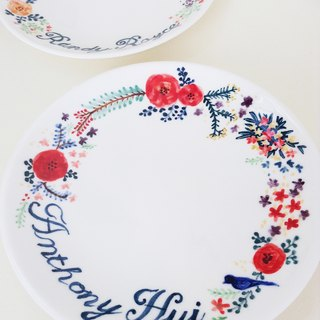 Custom hand-painted dinner plates 7-inch cake pan (18cm) - Garden wedding anniversary on the disk to disk (custom, name)