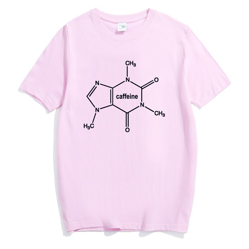 Caffeine Molecule (spot) men and women short-sleeved T-shirt light pink caffeine Wen Qing arts and design trendy text fashion