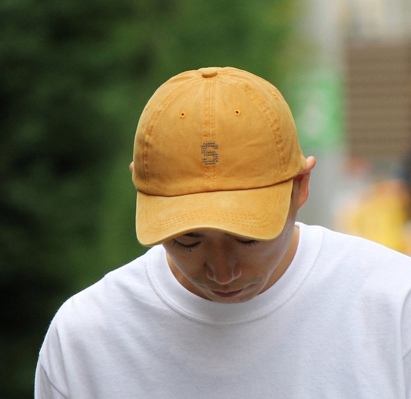 S LOGO WASHED CAP #CAMEL