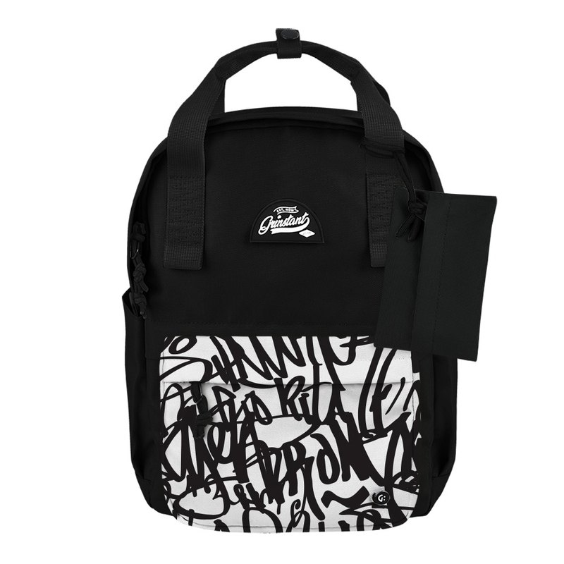 Grinstant mix and match detachable 13-inch backpack-black and white series (black with black graffiti)