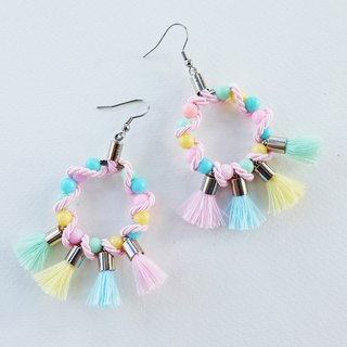 Pastel circle earrings with pastel tassels