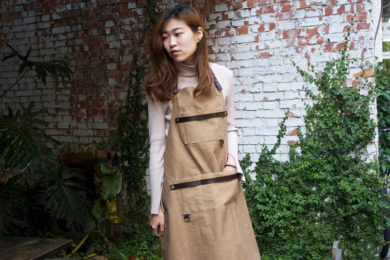 Khaki x dark brown handmade leather canvas double leather strip ring pocket apron