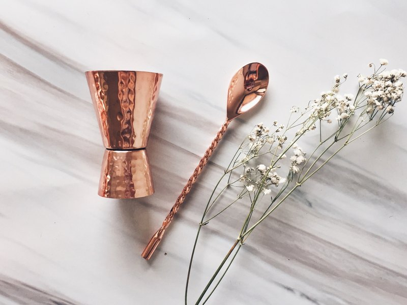 Copper Jigger Shot Glass and Mixing Spoon Set